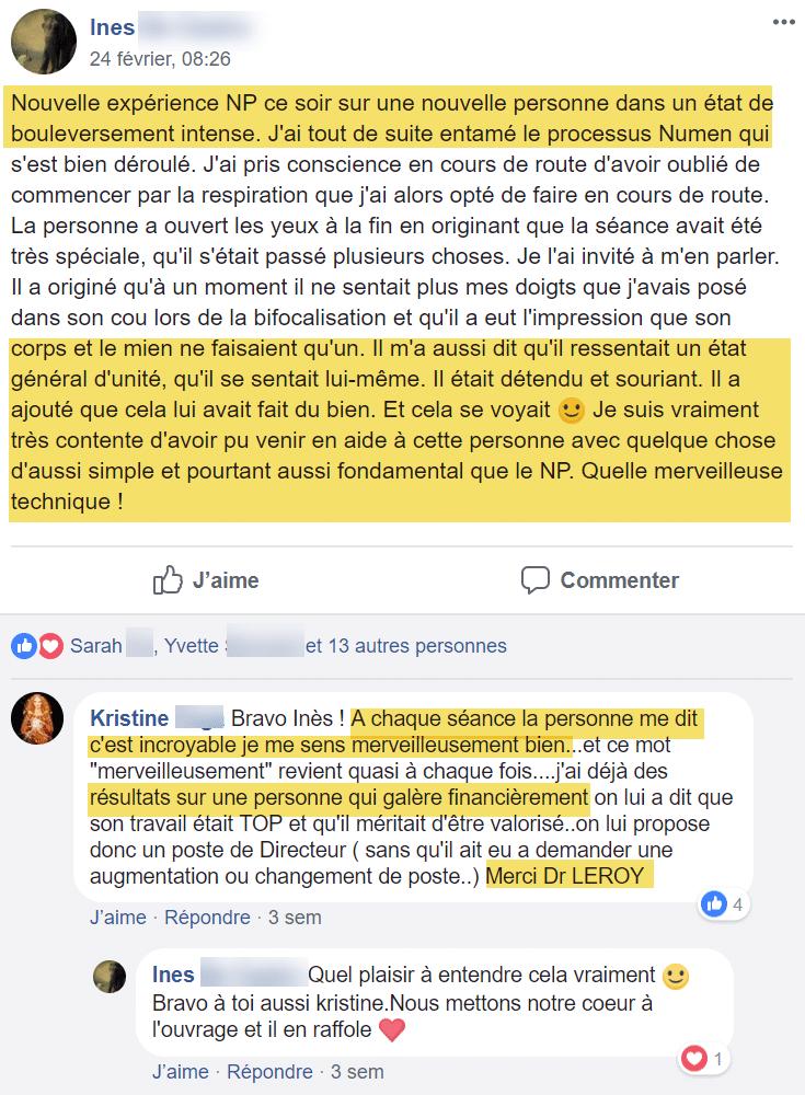 Témoignage Facebook Ines sur la formation Numen Process