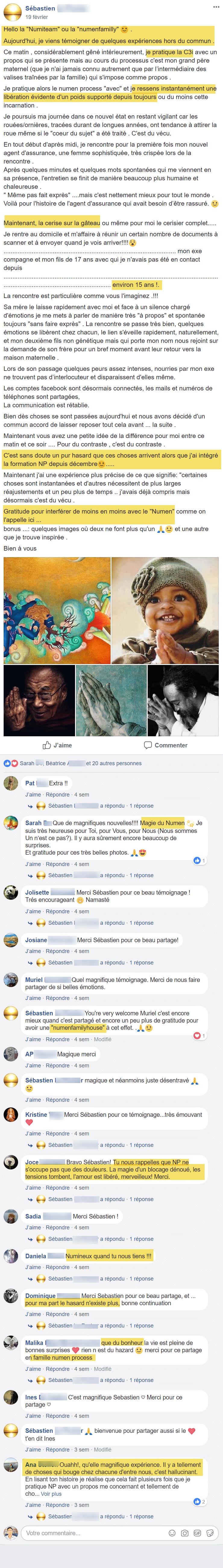 Témoignage Facebook sur la formation Numen Process