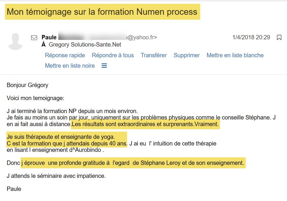 Témoignage par email de la formation Numen Process : Paule Thérapeute