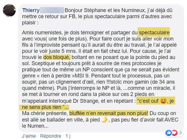 Témoignage Avis Numen Process Thierry mal de dos