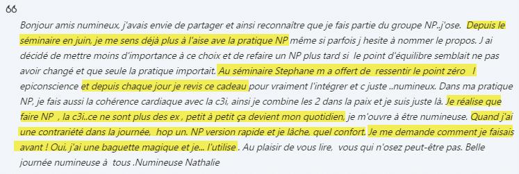 Témoignage Séminaire NUmen Process et C3I Nathalie